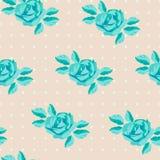 Безшовная картина с розами бирюзы Стоковое Изображение RF