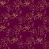 Безшовная картина с розами золота Стоковое фото RF
