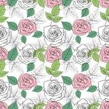Безшовная картина с розами и листьями иллюстрация вектора
