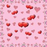 Безшовная картина с розами и сердцами на день валентинки Стоковые Фото