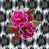 Безшовная картина с розами и фиолетами на предпосылке с Стоковая Фотография RF