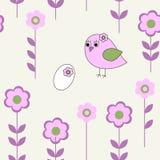 Безшовная картина с розовой птицей иллюстрация штока