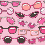 Безшовная картина с розовой солнечными очками нарисованными рукой Текстура лета красоты Совершенно посмотрите на ткани, сети, тка иллюстрация вектора