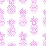 Безшовная картина с розовыми ананасами на белой предпосылке также вектор иллюстрации притяжки corel Экзотическая печать лета Крас Стоковые Фотографии RF