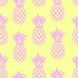 Безшовная картина с розовыми ананасами на желтой предпосылке также вектор иллюстрации притяжки corel Экзотическая печать лета Кра Стоковые Фото