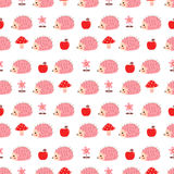 Безшовная картина с розовыми ежами Иллюстрация вектора