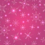 Безшовная картина с розовыми снежинками Стоковая Фотография RF