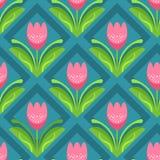 Безшовная картина с розовыми тюльпанами Стоковые Изображения RF