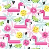 Безшовная картина с розовым фламинго и тропическими цветками Стоковая Фотография