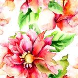 Безшовная картина с романтичными цветками Стоковые Фотографии RF