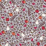 Безшовная картина с романтичными цыплятами. бесплатная иллюстрация