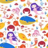 Безшовная картина с русалками и синим китом - иллюстрацией вектора, eps иллюстрация штока