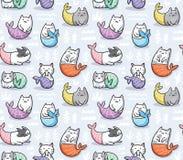 Безшовная картина с русалкой котов в стиле kawaii также вектор иллюстрации притяжки corel иллюстрация штока