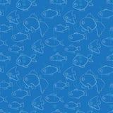 Безшовная картина с рыбами в стиле шаржа Иллюстрация штока
