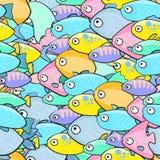 Безшовная картина с рыбами в стиле шаржа Иллюстрация вектора