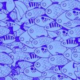 Безшовная картина с рыбами в стиле шаржа Бесплатная Иллюстрация