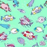 Безшовная картина с рыбами и пузырями цвета иллюстрация вектора