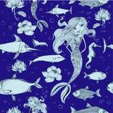 Безшовная картина с рыбами и русалкой Стоковое Изображение RF