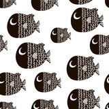 Безшовная картина с рыбами шаржа Скандинавская ребяческая текстура для ткани, ткани Предпосылка вектора иллюстрация штока