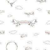 Безшовная картина с самолетами, птицами и облаками Стоковые Изображения