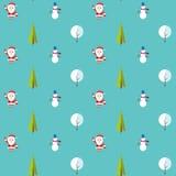 Безшовная картина с Санта Клаусом, рождественской елкой, снеговиком и деревом под снегом Предпосылка для приглашения, плаката Стоковое Фото