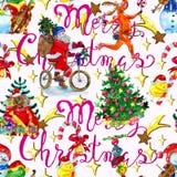 Безшовная картина с Сантой на велосипеде, щенке в сумке с подарками, лягушке петь и снеговике, счастливом цыпленке с конфетой Стоковое Фото