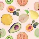 Безшовная картина с свежими фруктами Стоковая Фотография RF