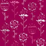 Безшовная картина с светлым эскизом цветет на magenta предпосылке Стоковые Изображения RF