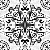 Безшовная картина с свирлями и точками Стоковое Изображение
