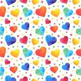 Безшовная картина с сердцами акварели, предпосылка дня Святого Валентина, текстура, создавая программу-оболочку желтый цвет обоев иллюстрация штока