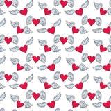 Безшовная картина с сердцами и крылами на белой предпосылке f иллюстрация штока
