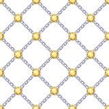Безшовная картина с серебряными цепями и драгоценными камнями Стоковое Изображение RF