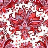 Безшовная картина с серыми и красными цветками стоковые изображения rf