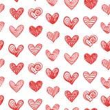 Безшовная картина с сердцами валентинки Doodle нарисованными рукой Стоковое Изображение RF