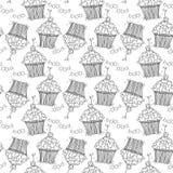 Безшовная картина с сердцами и пирожными doodle Стоковые Изображения RF