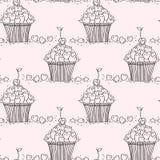 Безшовная картина с сердцами и пирожными doodle Стоковое Изображение RF