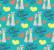 Безшовная картина с сердцами котов шаржа любовников Стоковое Изображение RF