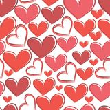 Безшовная картина с сердцами на белой предпосылке Стоковые Фотографии RF