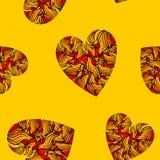 Безшовная картина с сердцами на желтой предпосылке Стоковое Фото