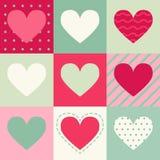 Безшовная картина с сердцами на квадратах Стоковое Изображение RF