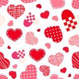 Безшовная картина с сердцами дня валентинки также вектор иллюстрации притяжки corel Стоковое Изображение RF