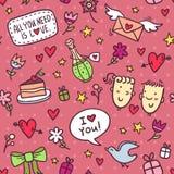 Безшовная картина с сердцами, цветками, смычками, звездами, подарками, envel Стоковое Изображение RF