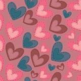 Безшовная картина с сердцами шаржа на голубом bac Стоковая Фотография