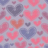 Безшовная картина с сердцами эскиза Стоковое фото RF