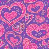 Безшовная картина с сердцами doodle декоративными Стоковые Изображения RF