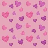 Безшовная картина с сердцами ` s валентинки мозаики иллюстрация штока