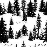 Безшовная картина с силуэтами деревьев Стоковые Изображения