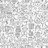Безшовная картина с символами влюбленности в линии стиле красный цвет поднял Wedding датировка отношения пар сердца влюбленности  иллюстрация вектора