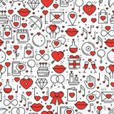 Безшовная картина с символами влюбленности в линии стиле красный цвет поднял Wedding датировка отношения пар сердца влюбленности  бесплатная иллюстрация