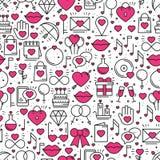 Безшовная картина с символами влюбленности в линии стиле красный цвет поднял Wedding датировка отношения пар сердца влюбленности  иллюстрация штока